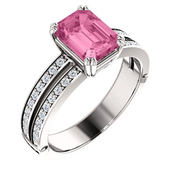 Gel1107 Diamontrigue Jewelry: Stuller, Pink Emerald, Double Shank