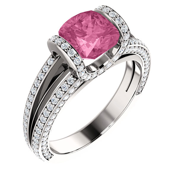 Gel1107 Diamontrigue Jewelry: Vintage Pink Center - Diamontrigue Jewelry