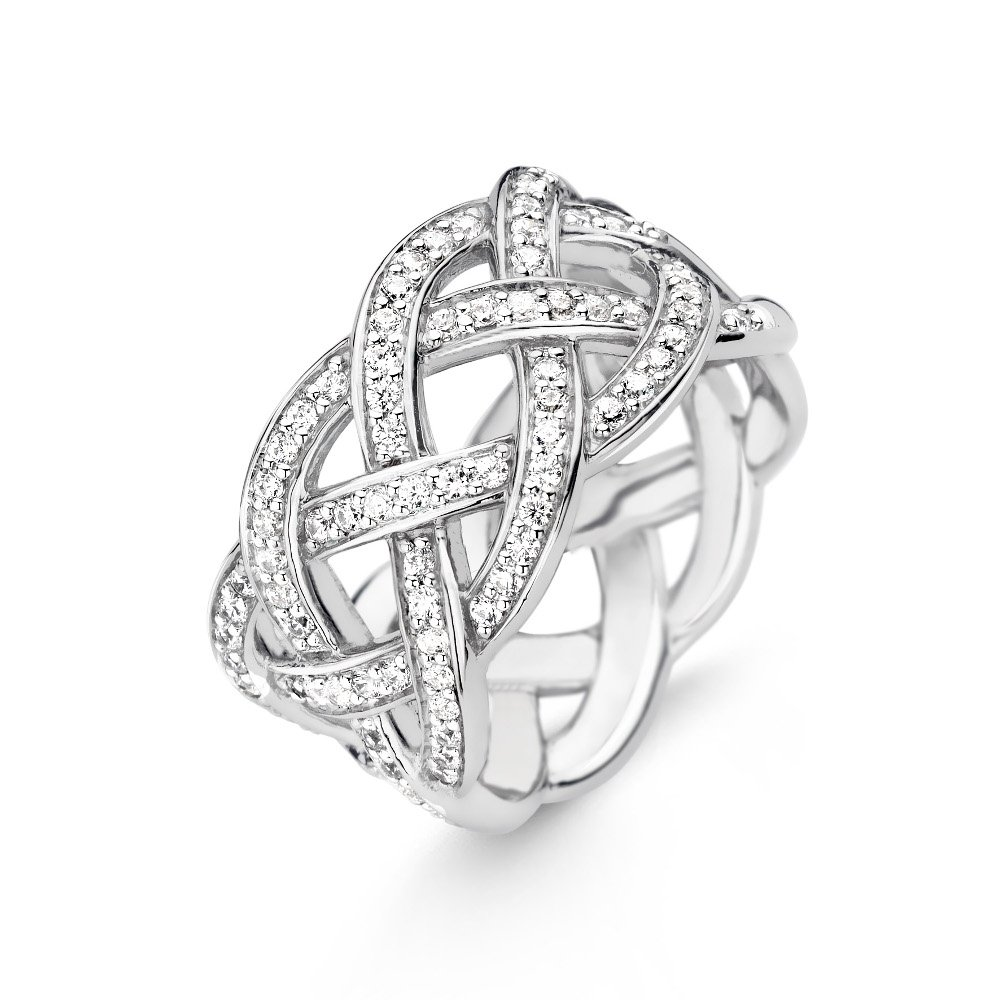 Texas Tech Jewelry Diamontrigue Jewelry: Pave-criss-cross-weave-dress-ring-sterling-silver-p10180