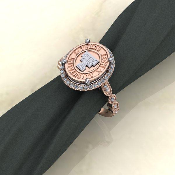 Texas Tech Rose Gold Vintage Halo Ladies Ring