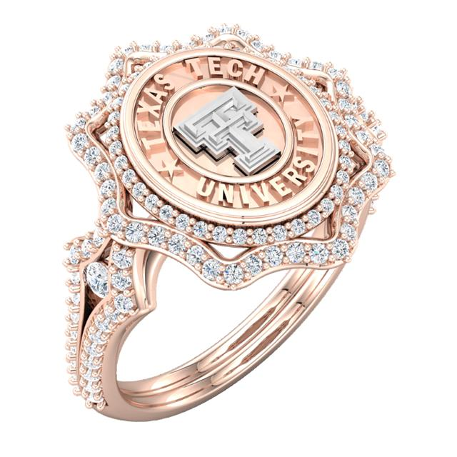 "Texas Tech Jewelry Diamontrigue Jewelry: Texas Tech ""Roselyn"" In Rose Gold"