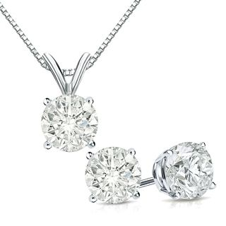 Round Solitaire Pendant and Stud Set