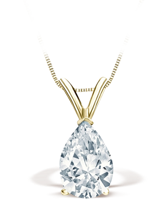 Pear Yellow Gold Solitaire Pendant